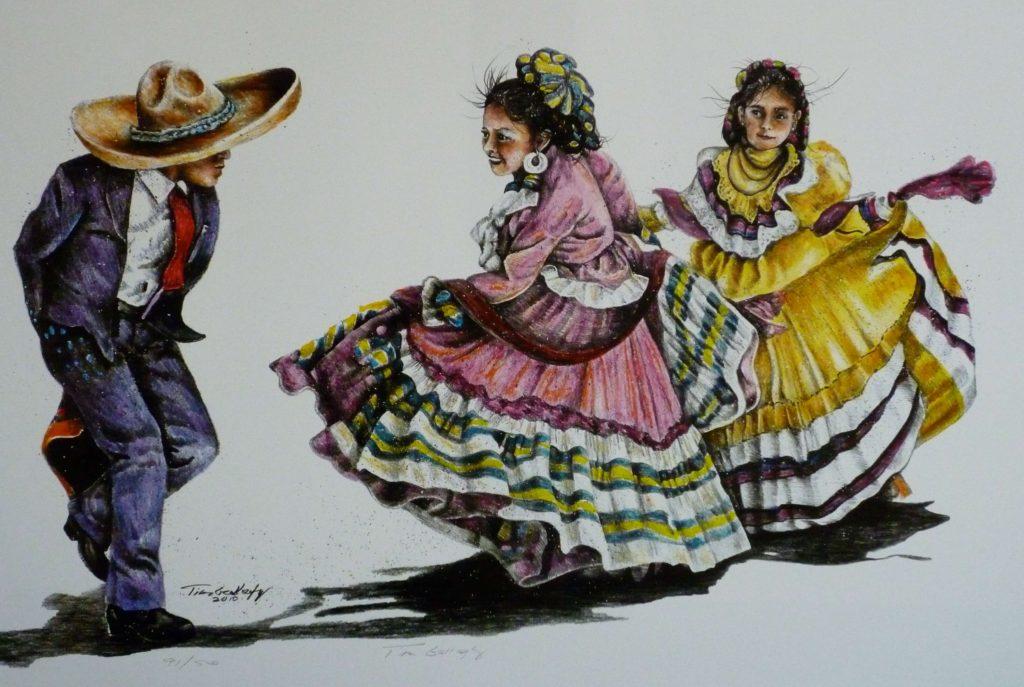 "Folklorico Dancers<br>SIZE H"" X W"": 18 x 28<br>Price: $120.00"