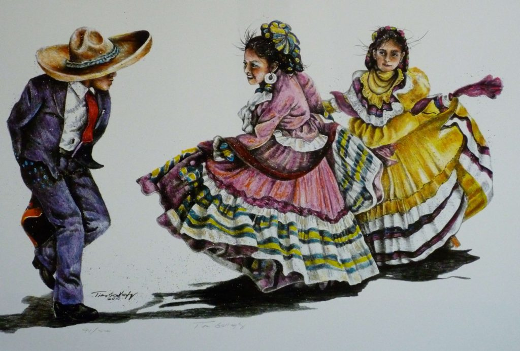 "Folklorico Dancers<br>SIZE H"" X W"": 18 x 28<br>Orig. Price: $1,220.00"